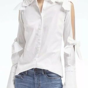 Banana Republic Riley Fit Cold Shoulder Bow Shirt